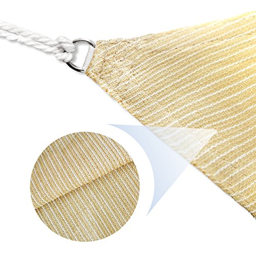 E K Sunrise 13 x 13 Beige Sun Shade Sail Square Canopy – Permeable UV Block Fabric Durable Patio Outdoor Set of 1