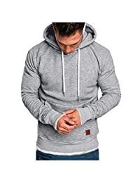 Men Fashion Long Sleeve Hoodies Sweatshirt, Male Solid Casual Autumn Winter T-Shirt Blouse Tracksuits Tunic Tops Sport Coat