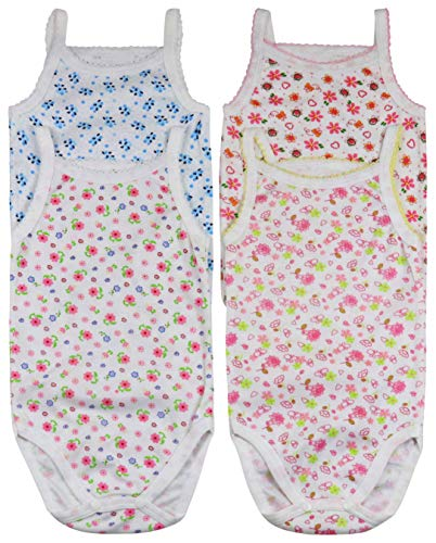 ToBeInStyle Baby Girls' 4 Pack Spaghetti Strap Bodysuit Onesies - Floral - 3-6 Months