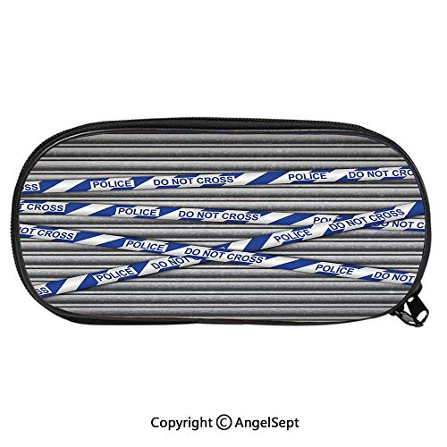 Pattern Pencil Bag Metal Shutter with Police Do Not Cross Tape Restricted Area Crime Image Decorative for Kids Boys Girls School Students Pencil Case with Zipper Children Pen Bag Pouch -