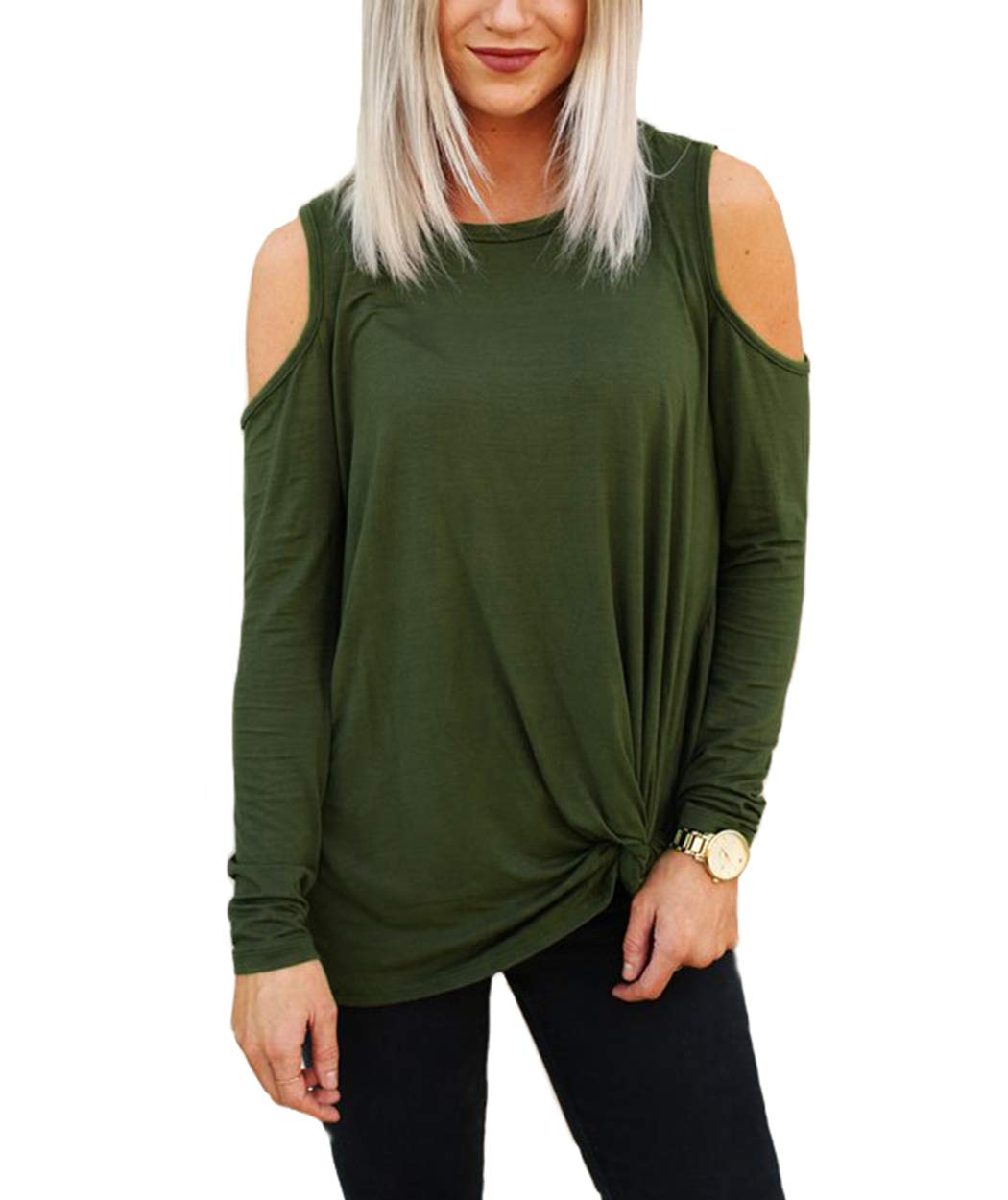 Eanklosco Women\'s Long Sleeve Cold Shoulder Cut Out T Shirts Casual Knot Tunic Tops (Army Green, 2XL)