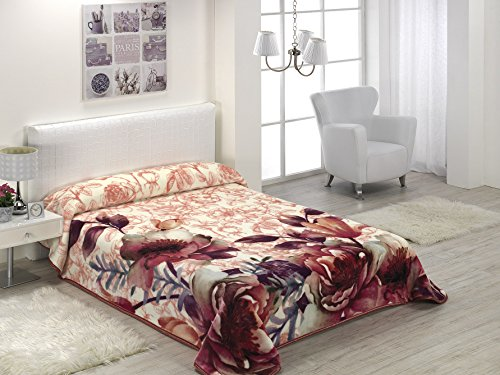 European - Made in Spain warm blanket 4 PC Mora Gold Digital Rose Color Floral Design by MORA Blankets