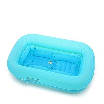 HUACANG Bañera Inflable del bebé Gruesa Antideslizante Plegable Azul ...
