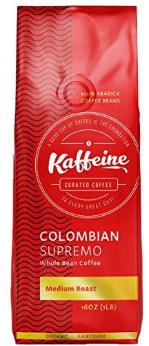 (Kaffeine Koffee Organic Roasted Whole Bean Specialty Gourmet Coffee (Columbian Supremo Medium Roast , 1lb))