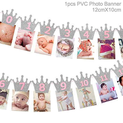 1St Birthday Party Decorations Kids Favors First Birthday Banner Flag ONE Year Bunting Garland Baby Shower Decor Boy Girl Silver Pink