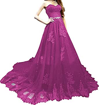 King's Love Sweetheart Embroidery Lace Prom Dresses Ball Gown Tulle Long Evening Dress With Belt Purple US20W