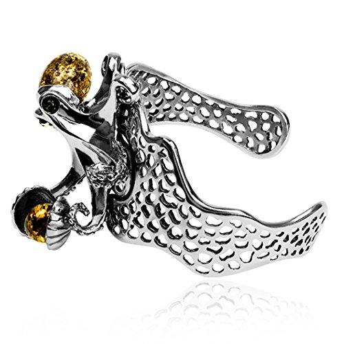 Ambre Argent Sterling Octopus Grand Bracelet Nacré
