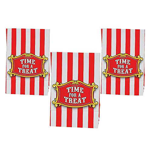 Fun Express Paper Mini Big Top Treat Bags with Tape | 12 Count | Great for Carnival Themed Party, Birthday Celebration, Parade Festival, Circus Halloween Party