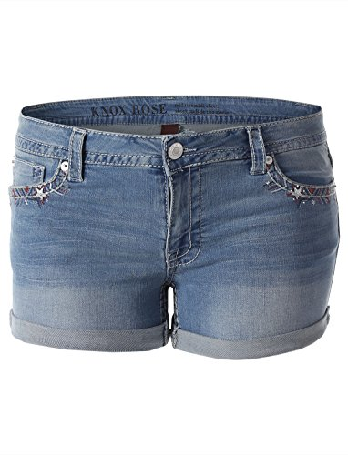 2 Light Encounters (Knox Rose Women's Mid-Rise Denim Midi Shorts Light Denim Solid Size 2)