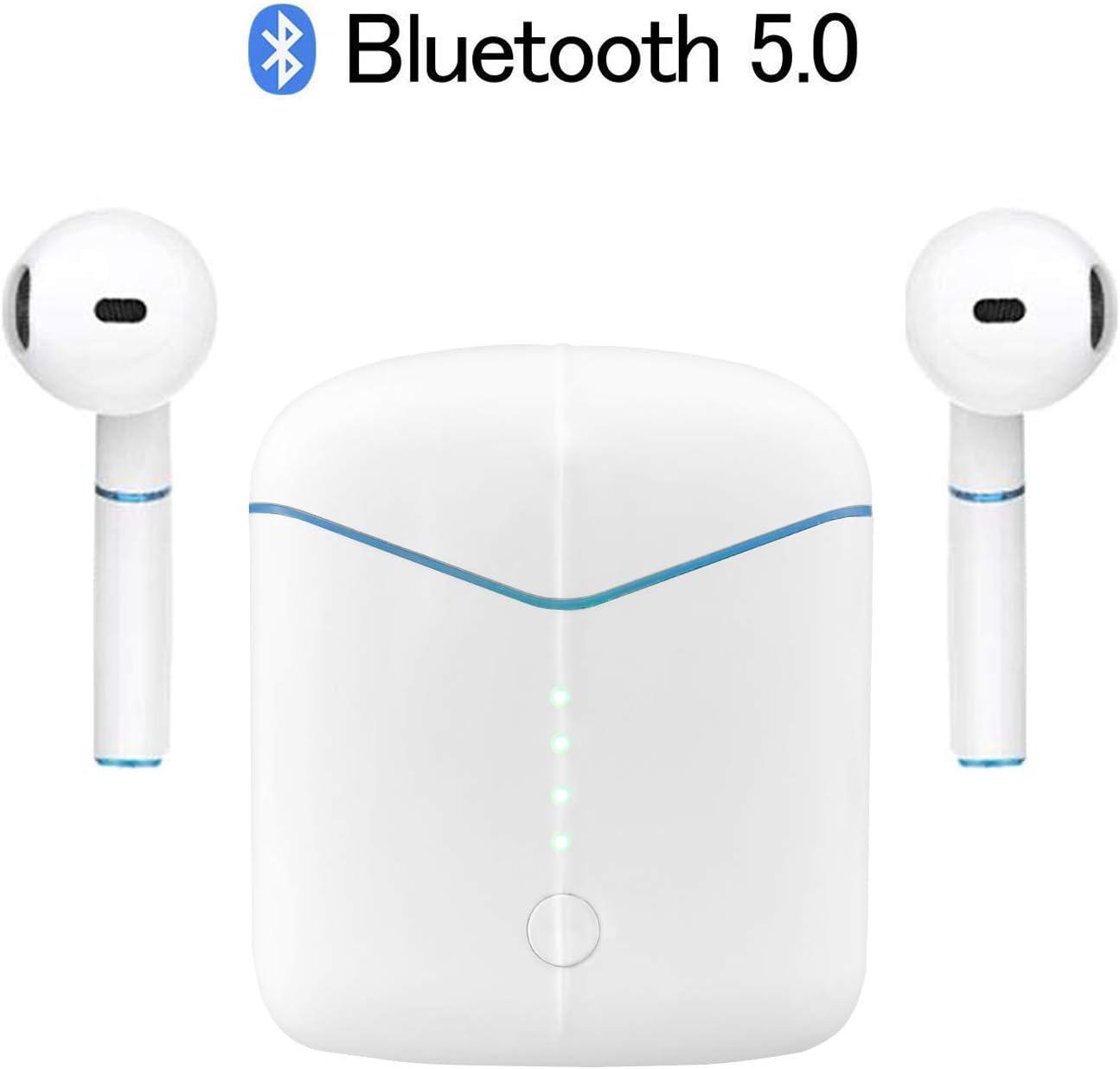WanshengBL Auriculares Inalambricos Bluetooth 5.0, In Ear Auriculares Bluetooth Deportivos IPX5 Impermeable, 25H Tiempo de Uso,Auriculares con Micrófonos Dual para iOS Android