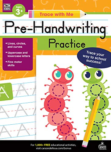 - Carson Dellosa - Pre-Handwriting Practice Activity Book for Toddler, PK, K, 1st Grade, Paperback, 128 Pages, Ages 3+ (Trace with Me)