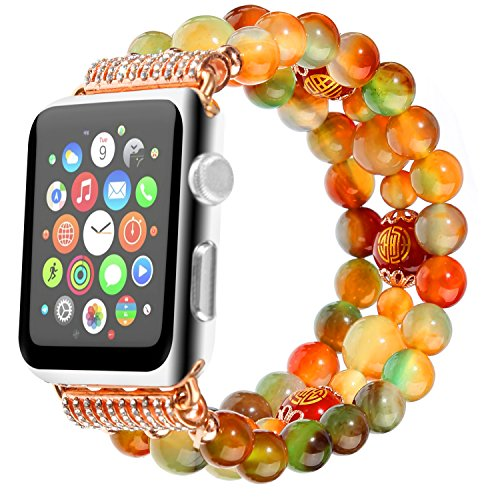 Apple Watch Band 38mm 40mm Natural Agate Beaded Sweatproof iWatch Strap Replacement Bands for Apple iWatch Series 1 2 3 4