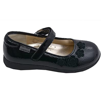 38edfdac79ae5 L Amour Little Girls Black Suede Flowers Strap Mary Jane Shoes 2 Kids