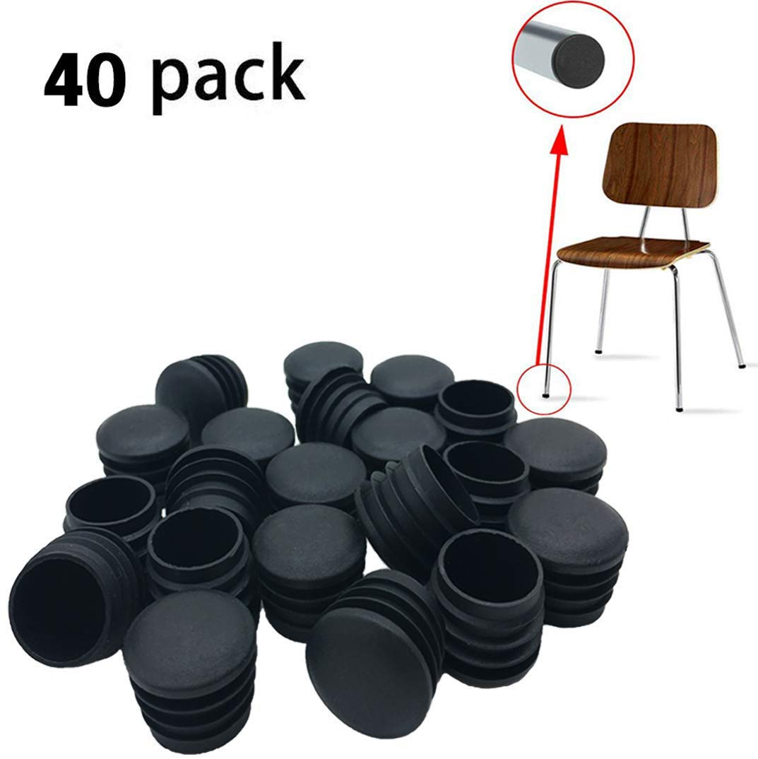 40 Pack 1 Inch Round Plastic Plug, Pipe Tubing End Cap, Durable Chair Glide