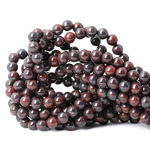 (Qiwan 45PCS 8mm Natural Brecciated Jasper Gemstone Round Loose Beads for Jewelry Making 1 Strand)