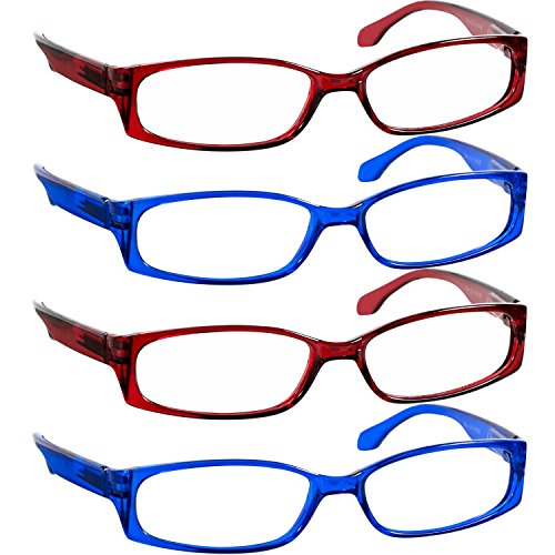 Reading Glasses 1.25 2 Red 2 Blue F503 (4 ()