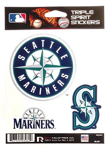 (Seattle Mariners Triple Sticker Multi Decal Spirit Sheet Auto Home)