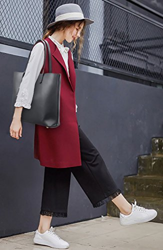 Handbag Large Capacity Pcs 2 Leather Grey Set Faux Bag black Ladies Big Shoulder Tote wXpqCv08