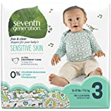 Seventh Generation Baby Diapers, Free & Clear for Sensitive Skin with Animal Prints, Size 3, 124 Count (Packaging May Vary)