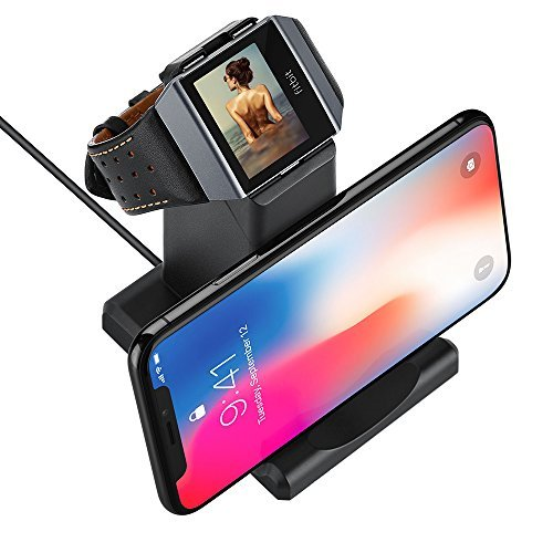 GOSETH for Fitbit Ionic Charger, Fitbit Ionic Replacement Charger Charging Dock Station Cradle Holder for Fitbit Ionic Smart Watch with Stand for Phone or Table(Not Work With The Protective Case)
