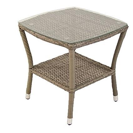 Edenjardi Mesa de terraza Auxiliar | Tamaño: 50x50x55 cm | Aluminio y ratán sintético Plano Color Gris | Cristal Templado de 5 mm | Portes Gratis