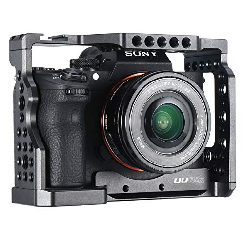 UURig C-A73 A7 III Camera Cage for Sony A7 Series A7R III/A7 III, Top Cold Shoe Microphone Light Mount/Arri Hole Extension, Stable Vlogging Video Cage with Arca Swiss Quick Release Plate