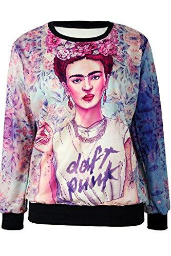 Pink Queen Long Sleeve Colorful Comic Figure Print Crew Neck Sweatshirt Sweaters (2)