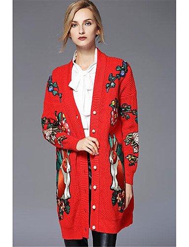 Casual Medium elastic Women's Xuanku Red Long FRMZ Regular Sleeves Cotton Daily Halter Micro Fall Print CardiganSolid Acrylic Winter Eqq6WfaF