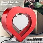 Delaman Photo Frame LED Red Heart Shaped Magnetic Levitation Photo Frame, Home Office Wedding Decor
