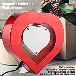Delaman Photo Frame LED Red Heart Shaped Magnetic Levitation Photo Frame, Home Office Wedding Decor