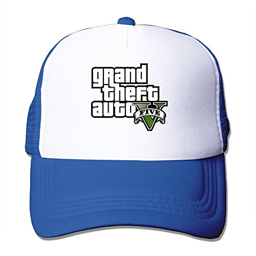 MZONE Unisex Mesh Caps Grand Theft Auto V Logo Trucker Hats Caps RoyalBlue