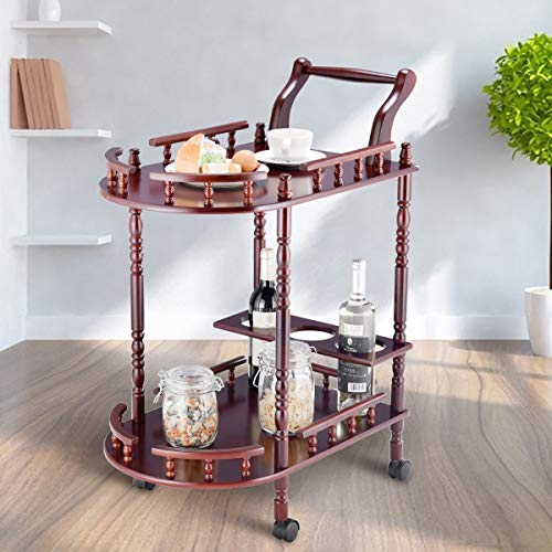 Elegant Pub Cart Wood 2-Tier Rolling Wheel Kitchen Shelf Island Trolley Cart Wine Shelf Basket Dining Serving Storage Cabinet Drawer Display Food Bar Towel Rack