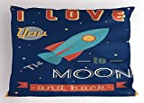 Ambesonne I Love You Pillow Sham, Spaceship Galaxy Cosmos Valentine's Theme Retro Inspirational Letters, Decorative Standard Queen Size Printed Pillowcase, 30 X 20 inches, Dark Blue and Coral