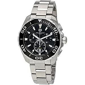 TAG Heuer Men's Aquaracer 43mm Steel Bracelet & Case Quartz Black Dial Analog Watch CAY111A.BA0927