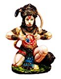 Amazing India Painted God Hanuman Statue Resin Idol Sculpture 8 Inches X 5 Inches Multicolor