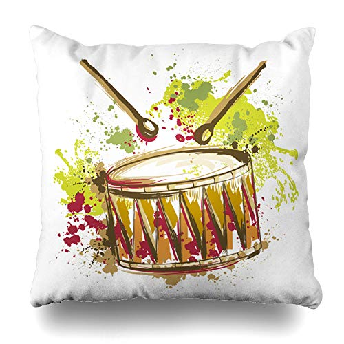 Ahawoso Throw Pillow Cover Bass Carnival Drum Splashes Watercolor in Old Vintage Music Abstract Sound Pattern Percussion Rock Zippered Pillowcase Square Size 18 x 18 Inches Home Decor Pillow Case