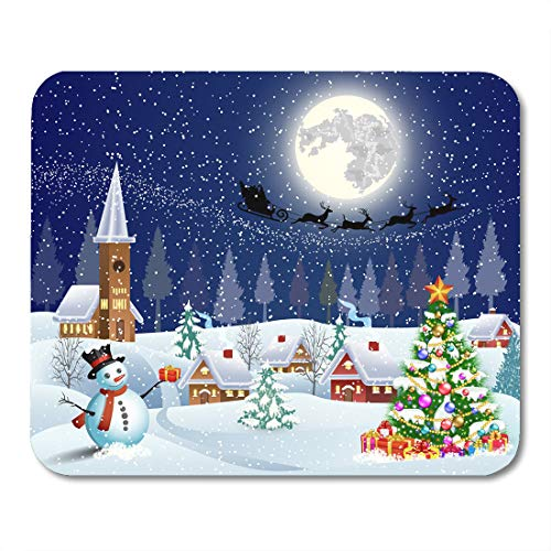 (Emvency Mouse Pads Christmas Landscape Tree and Snowman Gifbox Moon The Silhouette Mouse Pad for notebooks, Desktop Computers mats 16