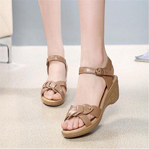 Con Brown Planos Zapatos Fondo Sandalias Pendiente Blando YnqatH58w5
