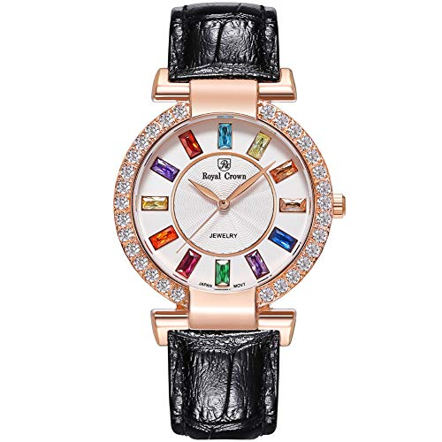 RC ROYAL CROWN Women's Quartz Watch Fashion Leather Rose Gold-Tone Girl Watch Jewelry Waterproof Wrist Watches from RC ROYAL CROWN
