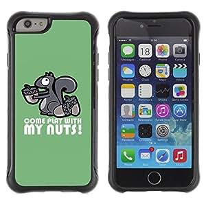 ZAKO Cases / Apple Iphone 6 / Come Play With My Nuts Squirrel / Robusto Prueba de choques Caso Billetera cubierta Shell Armor Funda Case Cover Slim Armor