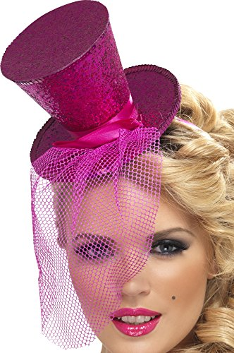 Fever Women's Mini Top Hat on Headband, Hot Pink One Size, (Pink Sequin Hat)