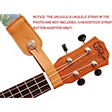 MUSIC FIRST Original Design Genuine Leather EAGLE Ukulele Strap Button, Strap Locks, Headstock Adapter, Strap Adapter Fit for Ukulele/Banjo/Acoustic Guitar/Acoustic Bass (Eagle, Apricot)
