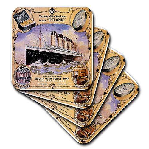 (3dRose CST_149245_2 Vintage White Star Line Titanic Vinolia Otto Toilet Soap Advertising Poster Soft Coasters (Set of 8))