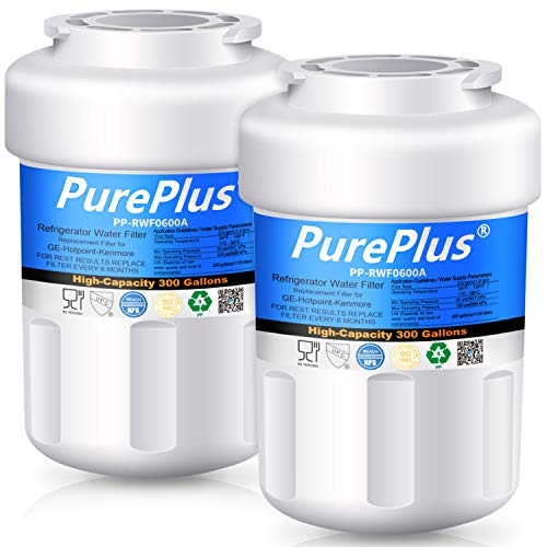 PUREPLUS MWF Refrigerator Water Filter, Replacement for GE SmartWater, HDX FMG-1, GWF, WFC1201, MWFP, MWFA, PC75009, RWF1060, 197D6321P006, GSS23WSTASS, GSS25GSHBCSS, GFSS6KKYESS, GSE25GSHECSS, 2 Pack