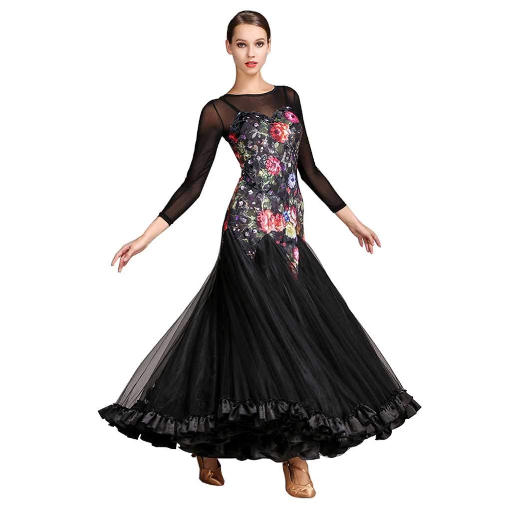 最も完璧な 黒の大人のモダンダンススカートドレスダンスドレスロングスリーブワルツスカート B07HD76DT9 XL|ブラック ブラック XL, meruru dc1dcdd1