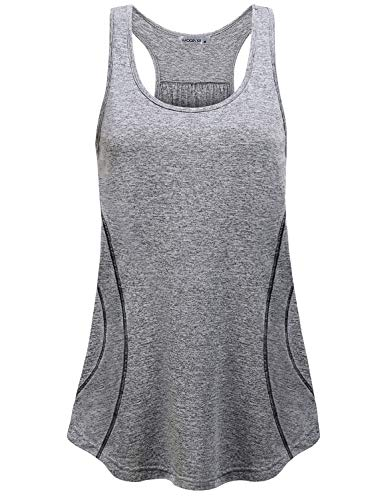 MOQIVGI Racerback Tank Tops for Women,Workout Ribbed Wicking Shirt Round Neck Athletic Training Sleeveless Blouses Chic Soft Energetic Cycling Walking Hiking Wear Gym Sport Clothes Grey Medium ()