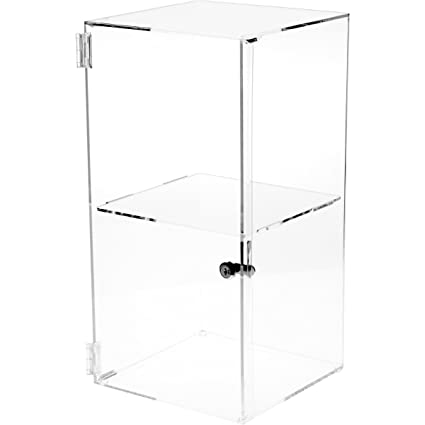 Plymor Brand Front Opening Square Locking Clear Acrylic Display Case, 1  Shelf, 20