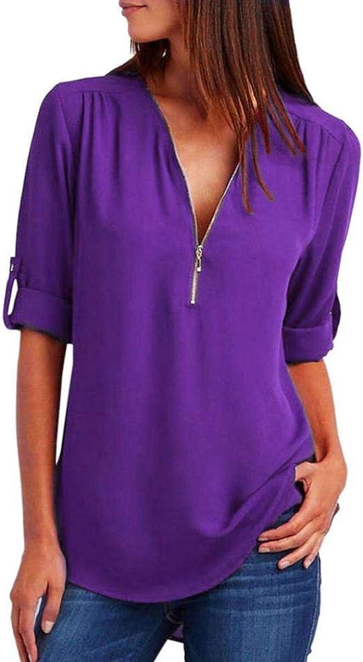 Heeecgoods Blusa de Blusa (Color : Púrpura, tamaño : X-Large ...