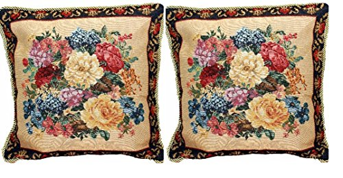 DaDa Bedding Throw Pillow Covers - Set of Two Breath of Spring Floral - Elegant Square Colorful Golden Dark Border - 2-Pieces - 18