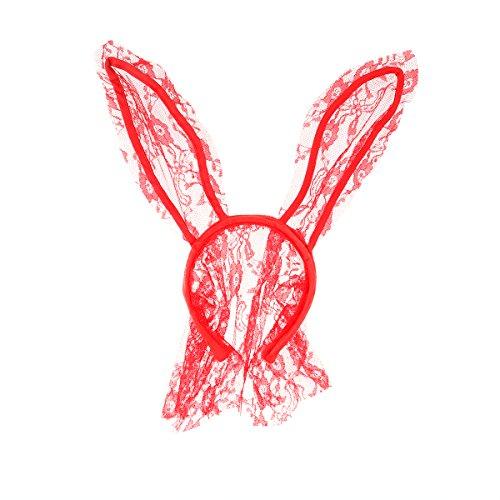 Rabbit Ears Headband Easter Bunny Mask Hairband Headwear Nightclubs Masquerade Party Cosplay Headwrap - Red ()